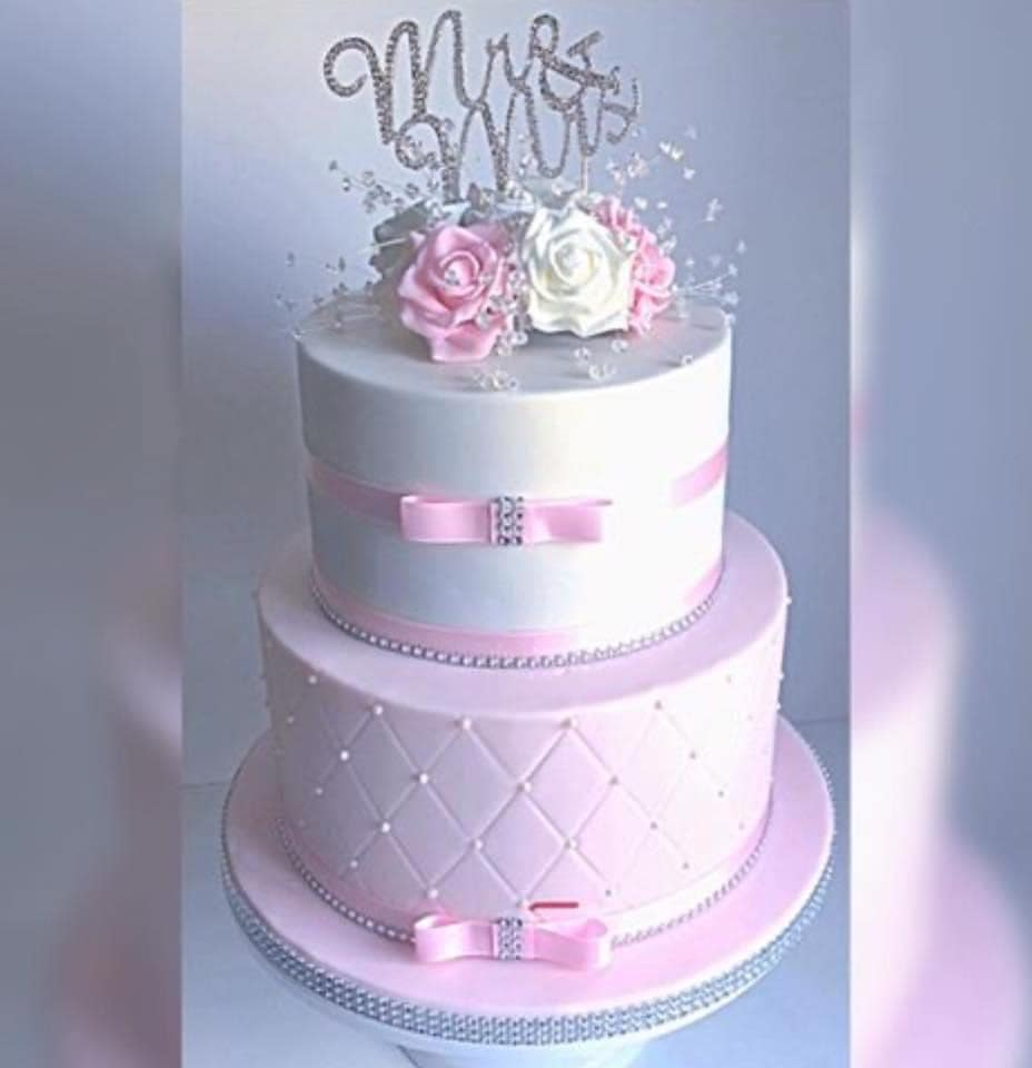 Beautiful Pink Small Wedding Cake