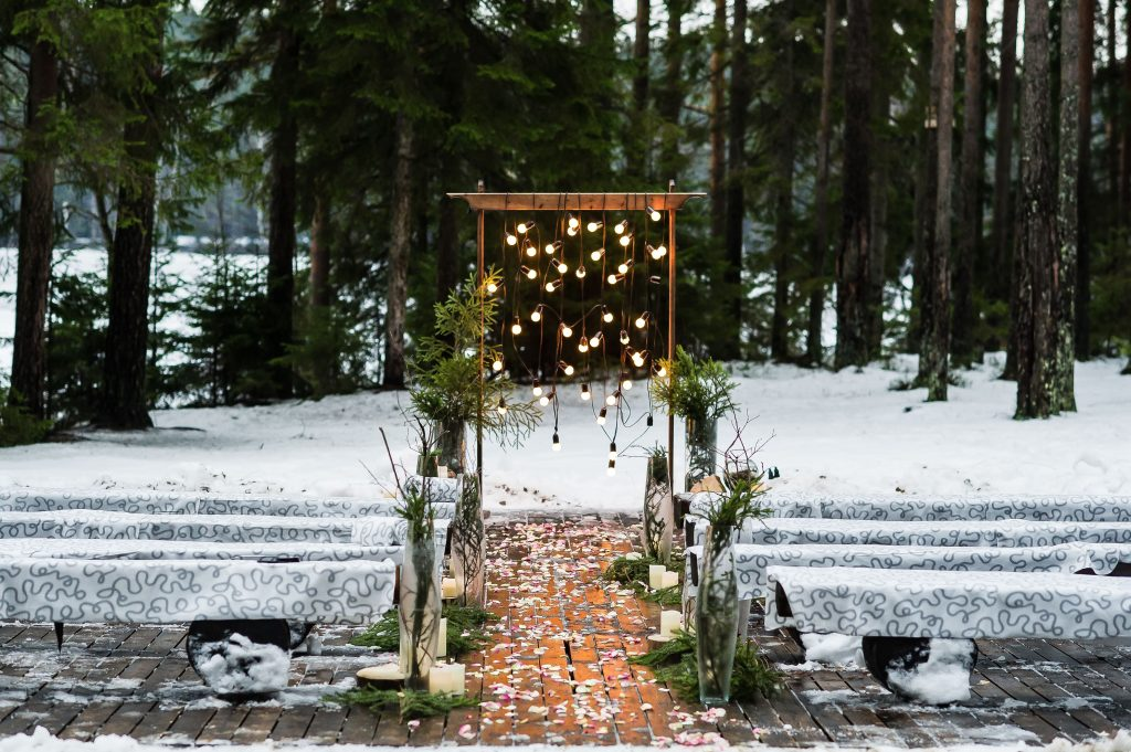 Stunning Winter Ceremony Backdrop
